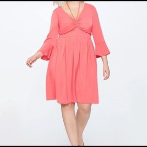Eloquii New Coral Halter Bell Sleeve Fit & Flare